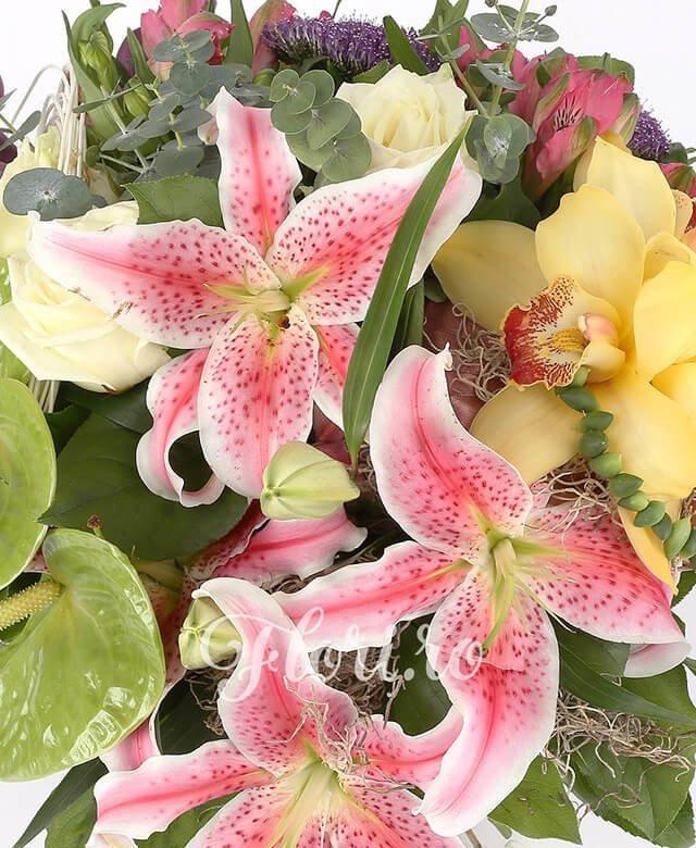1 crin roz, 1 cymbidium galben, 2 anthurium verde, 3 gerbera ciclam, 3 cale grena, 2 trandafiri albi, 2 alstroemeria roz