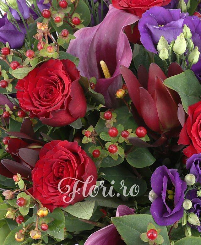 7 lishiantus mov, 7 cale mov, 7 trandafiri rosii, 7 hypericum rosu, 5 fire leucadendron,  feriga, salal