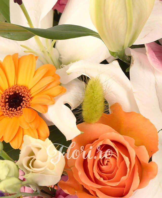 2 crini albi, 3 hypericum rosu, 1 cymbidium grena, limonium, 5 lisianthus roz, 10 lagurus verde, 5 trandafiri portocalii, 3 gerbera portocaliu, salal
