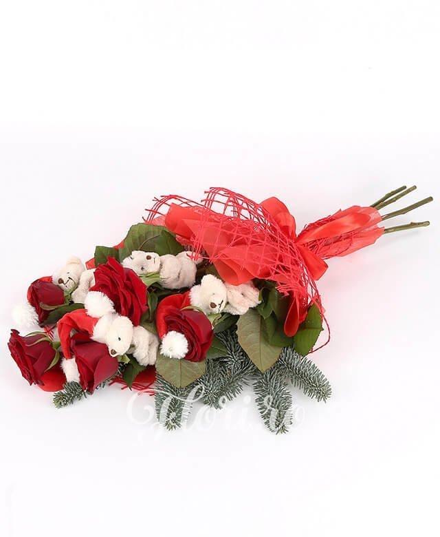 5 trandafiri roșii, ursuleți, brad