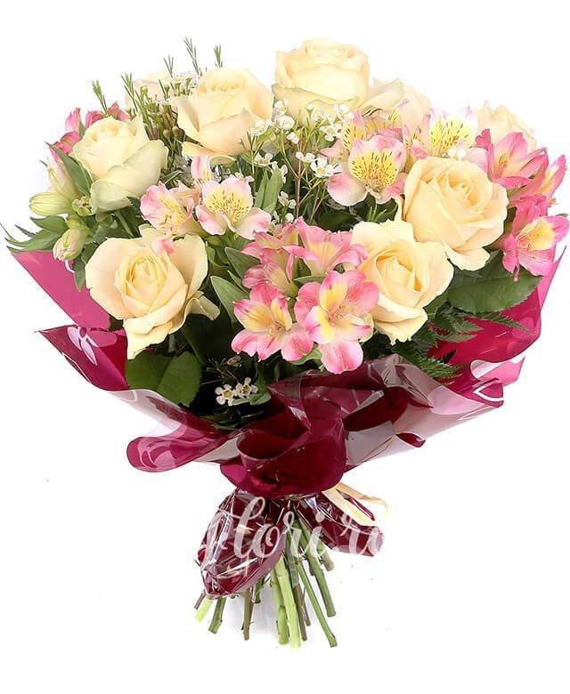 9 trandafiri banan, 7 alstroemeria roz, waxflower alb