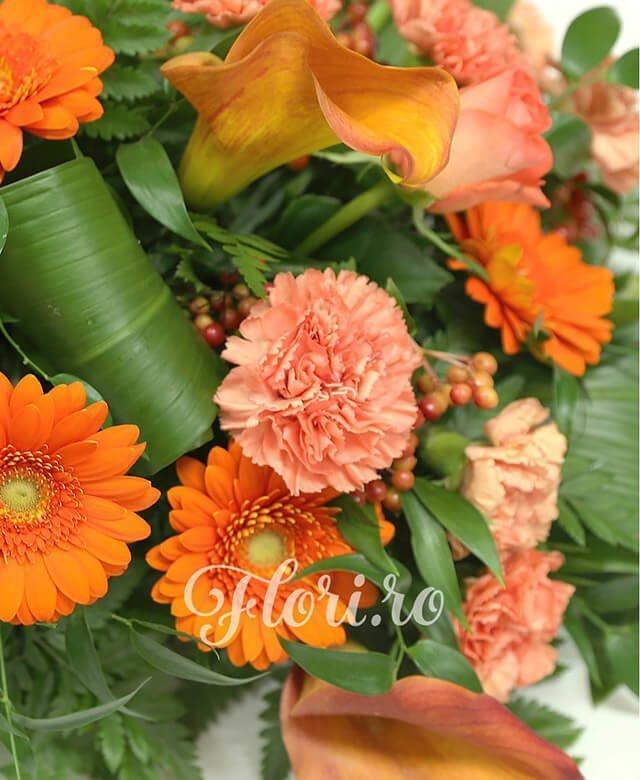 aranjament funerar, 5 trandafiri portocalii, 10 cale mango, 10 gerbera portocalie, 18 garoafe portocalii, 10 hypericum rosu, aspidistra, ruscus