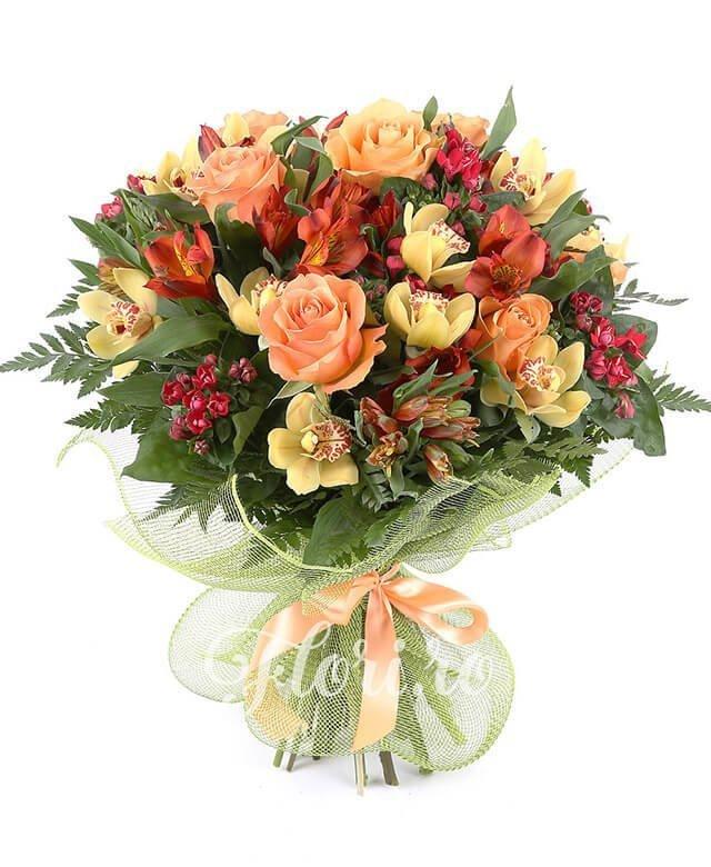 1 cymbidium galben, 7 bouvardia grena, 5 trandafiri portocalii, 7 alstroemeria portocalie