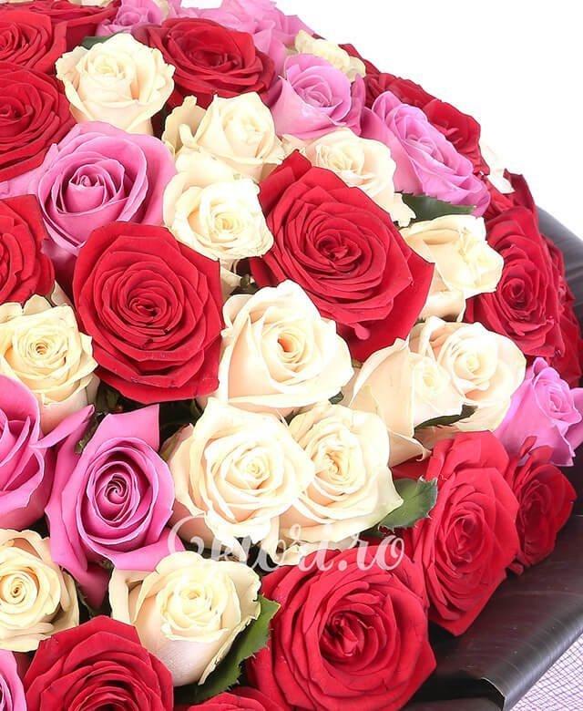 33 trandafiri rosii, 33 trandafiri roz, 33 trandafiri crem