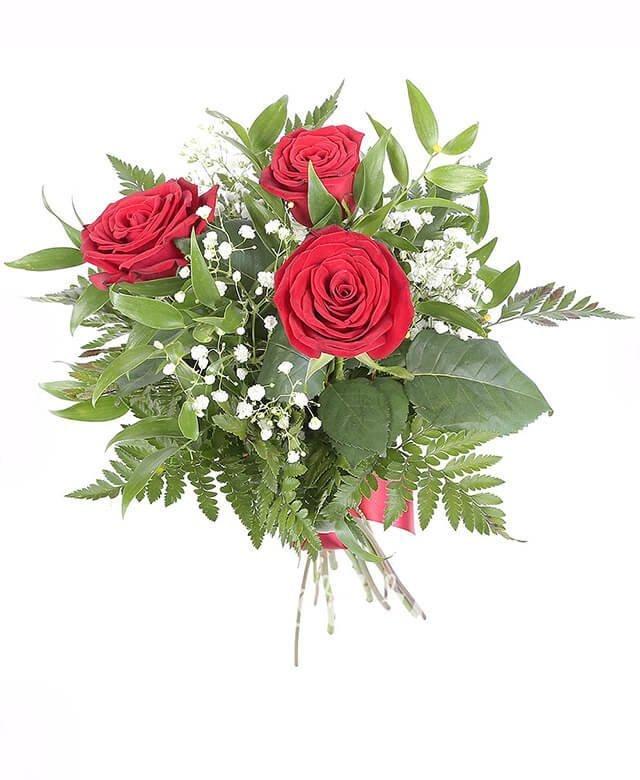 3 trandafiri roșii, verdeață, gypsophila