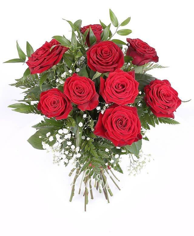 9 trandafiri roșii, verdeață, gypsophila