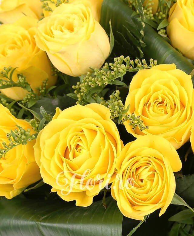 19 trandafiri galbeni, 6 solidago, verdeață