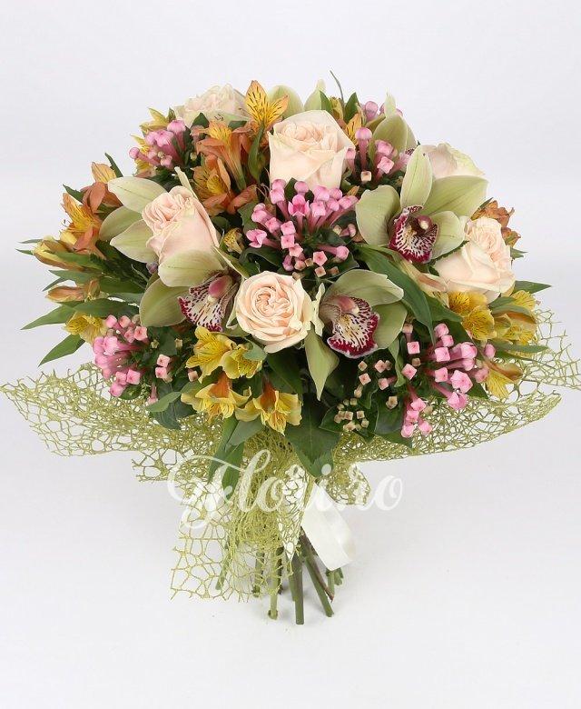 trandafiri crem,  cymbidium verde,  alstroemeria portocalie,  bouvardia roz