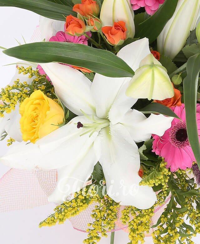 2 crini albi, 5 miniroze portocalii, 5 gerbera roz, 3 trandafiri galbeni, 5 solidago, 5 spice pufoase mov