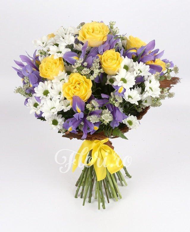9 trandafiri galbeni, 10 iris mov, 4 crizanteme albe, astranția, verdeață
