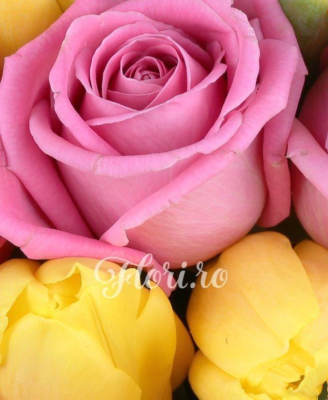 23 trandafiri roz, 20 lalele galbene