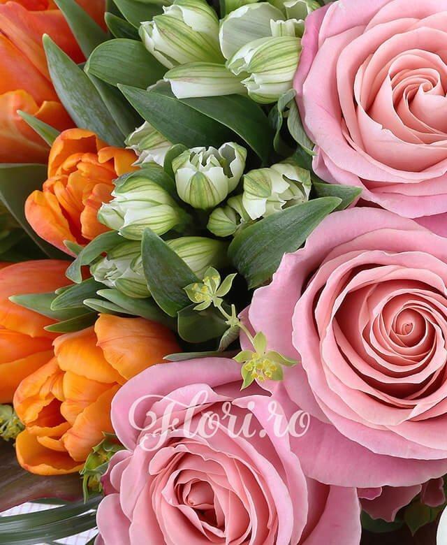 5 cale mov cu marginea alba, 6 trandafiri roz, 5 trahelium mov, 5 alstroemeria alba, 4 gerbera alba, 10 lalele portocalii, bergras, bupleurum