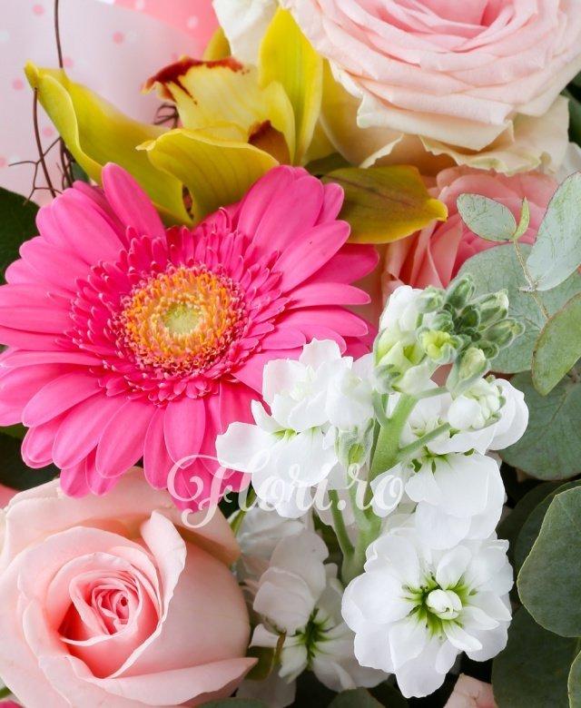 7 trandafiri roz, 3 gerbera roz, 5 matthiola albă, 1 cymbidium verde, verdeață