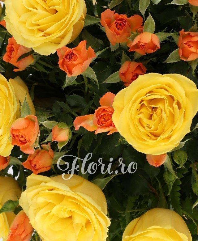 9 trandafiri galbeni, 7 miniroze portocalii, 3 eucalypt, 10 feriga, 1 monstera