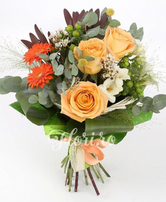 3 trandafiri crem, 3 gerbera portocalii, 3 hypericum verde, 3 frezii albe, 3 leucadendron roșu, verdeață