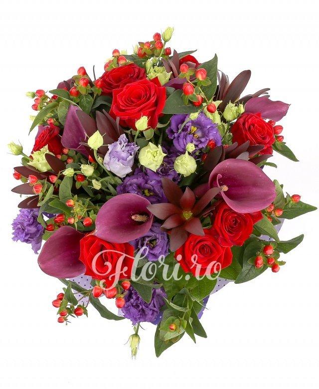 7 trandafiri roșii, 7 cale roșii, 7 lisianthus mov, 7 leucadendron, 7 hypericum roșu, verdeață