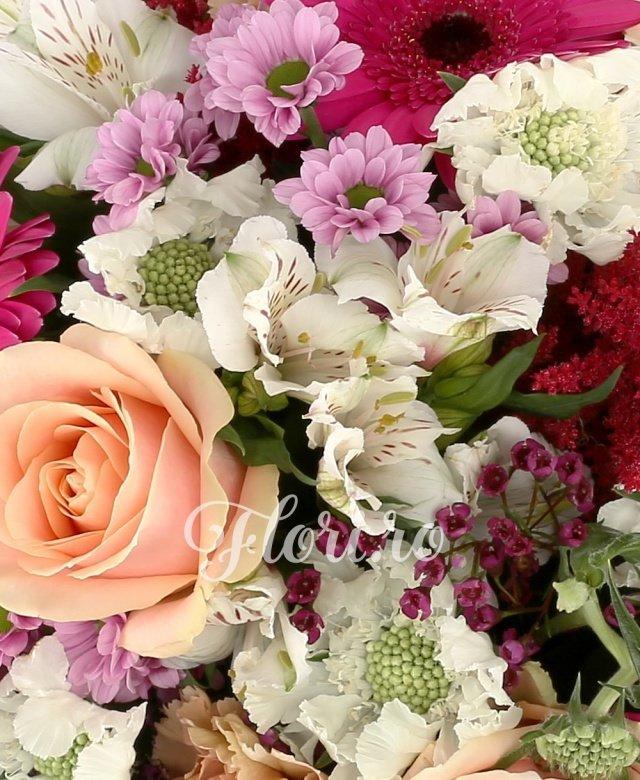 7 trandafiri peach avalanche portocalii, 3 gerbera ciclam, 3 garoafe cappucino, 5 astilbe rosii, 3 crizanteme santini mov, 3 trahelium mov, 2 alstroemeria alba, 7 scabiosa albe, 3 eucalypt, 1 fir echeveria, 5 salal