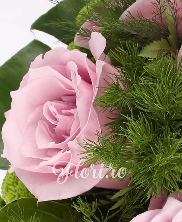 4 trandafiri roz, 5 gerbera ciclam,1 cymbidium roz, 3 santini verde, asparagus, filodendron, monstera, aspidistra, feriga