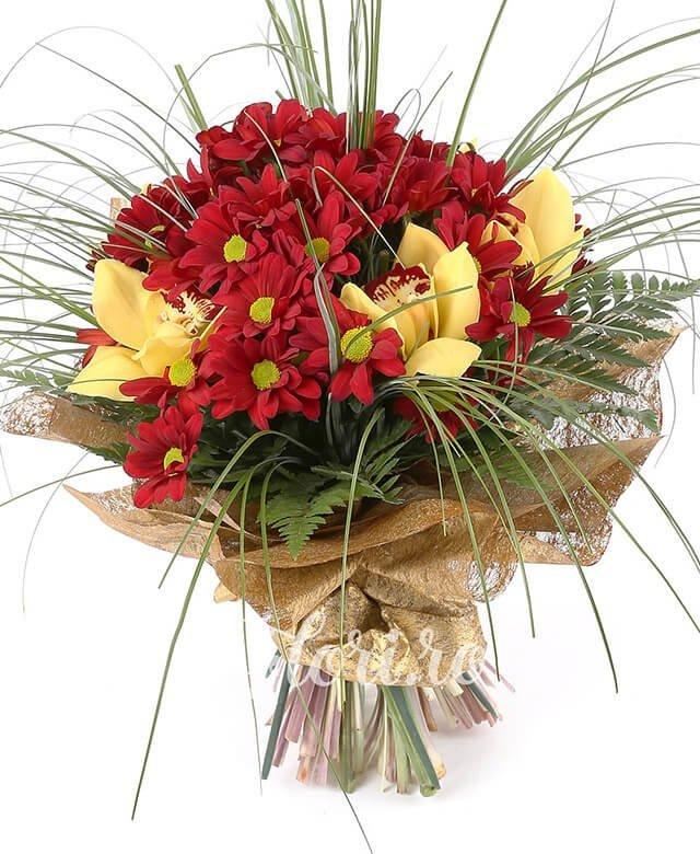 5 crizanteme grena, 1 cymbidium galben, verdeață