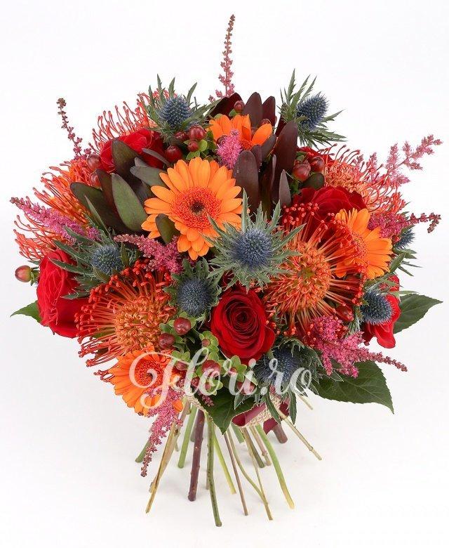 4 trandafiri, 8 astilbe roșii, 3 leucadendron roșii, 5 leucospermum roșii, 5 gerbera portocalii, 7 hypericum, verdeață