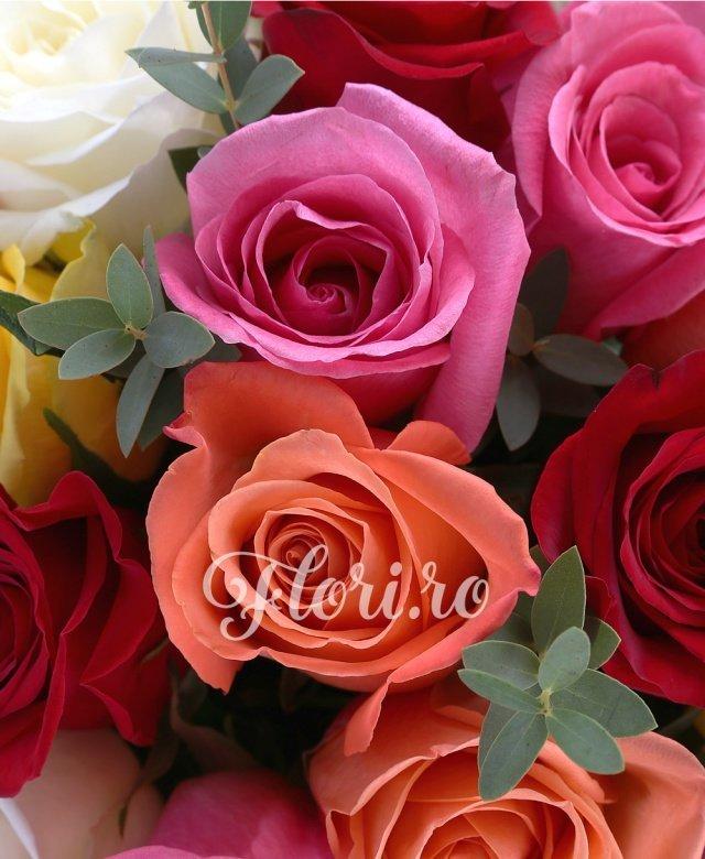 23 trandafiri multicolori, 2 eucalypt
