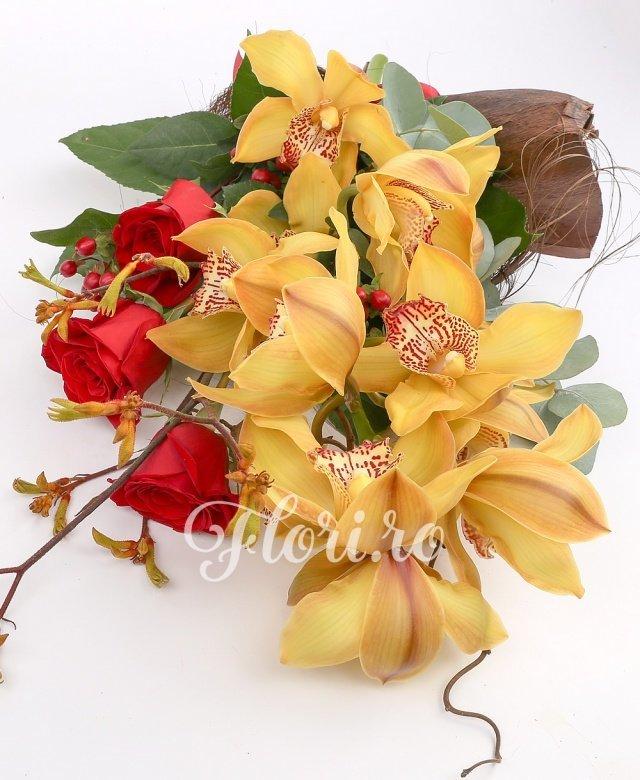 1 orhidee cymbidium, 3 trandafiri roșii, 3 hypericum roșu, verdeață