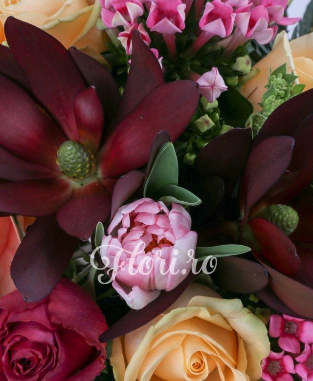 1 anthurium roz, 3 trandafiri portocalii, 2 trandafiri ciclam, 2 leucadendron, 5 lalele roz, 2 bouvardia roz, 1 eryngium, 2 eucalypt, 2 bupleurum, 1 aralia, 5 salal