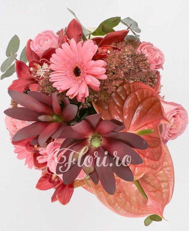 3 anthurium maro, 5 trandafiri roz, 2 leucadendron, 5 cupe orhidee grena, 3 gerbera roz, verdeață