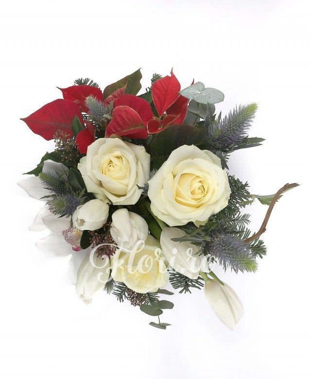 3 trandafiri albi, 5 lalele albe, 1 cymbidium alb, poisenția, eryngium, corylus, brad, verdeață, vas