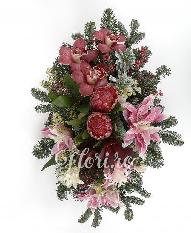 2 proteea roșii, 2 leucadendron, 2 crini imperiali roz, 3 cupe orhidee roșii, 2 schimia, 2 echeveria albe, verdeață