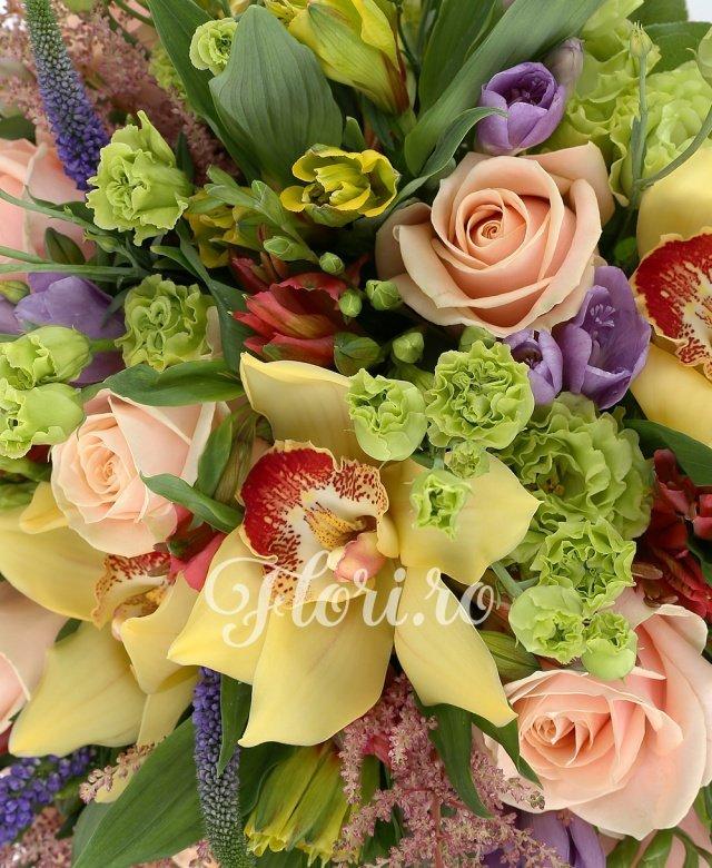 9 trandafiri crem, 7 cupe orhidee cymbidium galbene, 4 alstroemeria rosii, 4 alstroemeria galbene, 3 lisianthus mov, 5 veronica, 5 astilbe roz, salal