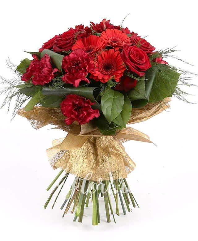 4 gerbera roșie, 4 trandafirii roșii, 2 crizanteme grena, 7 garoafe roșii, verdeață