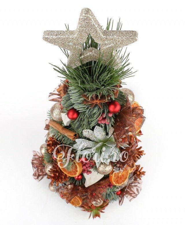 aranjament special de crăciun din brad natural, decoraţiuni