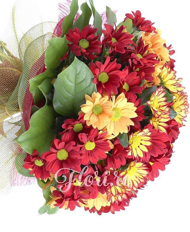 3 crizanteme galbene, 3 crizanteme portocalii, 3 crizanteme grena, verdeață