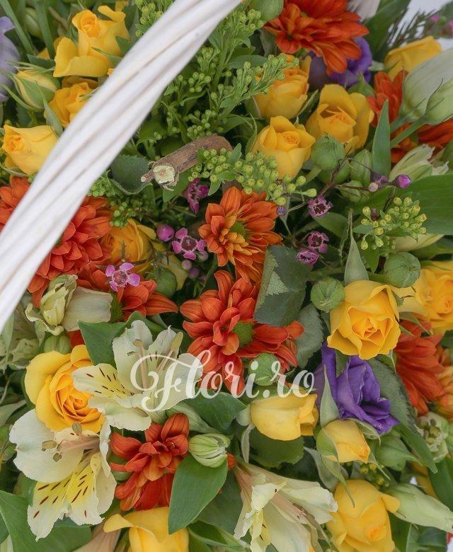 10 miniroze galbene, 5 santini portocalii, 5 alstroemeria galbene, 3 lisianthus mov, verdeață
