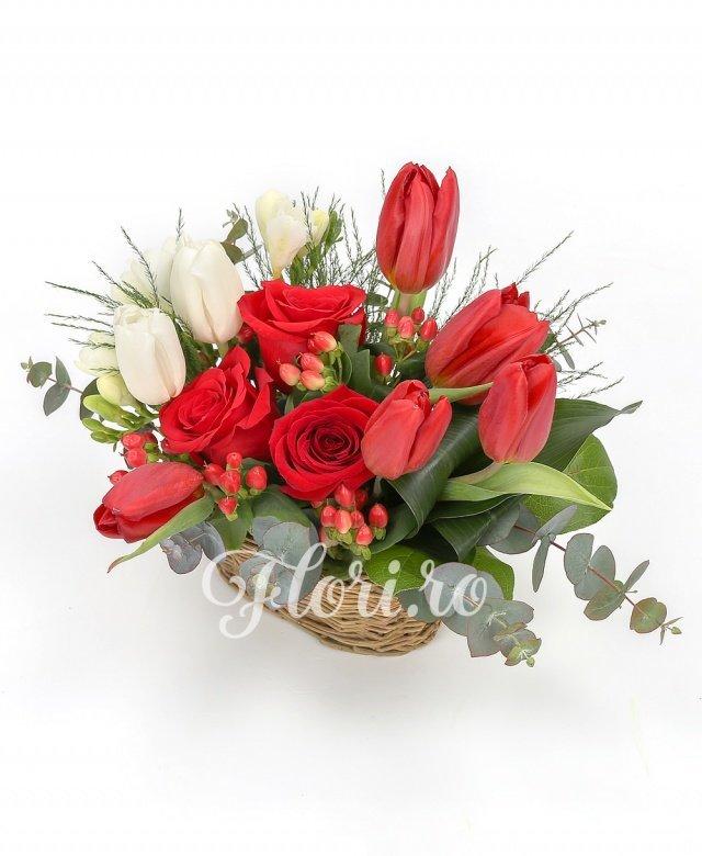 5 lalele roșii, 3 trandafiri, 3 frezii albe, 2 lalele albe, 2 fire hypericum roșu, verdeață