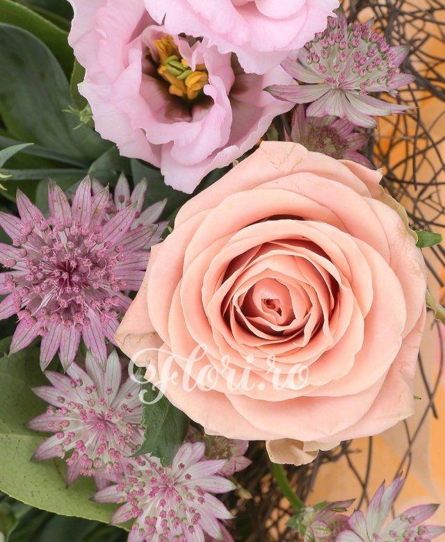 7 trandafiri cappuccino, 2 leucadendron, 3 lisianthus crem, 5 astranția roșii, verdeață