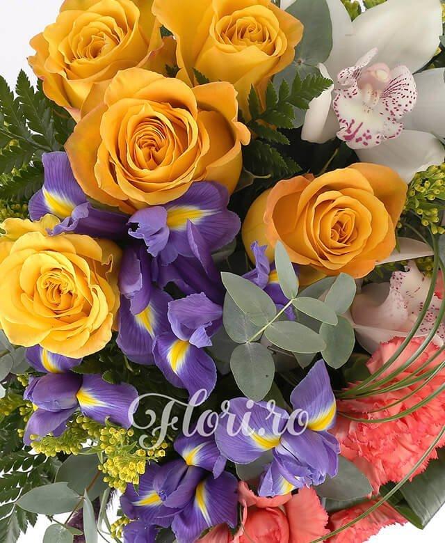 5 trandafiri galben, 5 garoafe portocalii, 1 cymbidium alb, 5 iris,solidago, spice pufoase mov, feriga, eucalypt, belgras, bete decorative