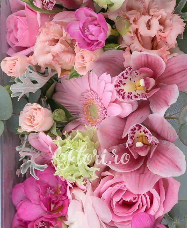 5 trandafiri roz, 2 gerbera roz, 5 frezii cyclam, 3 miniroze roz, 3 lisianthus roz, cymbidium roz, sticky, eucalypt, tillandsia, carte