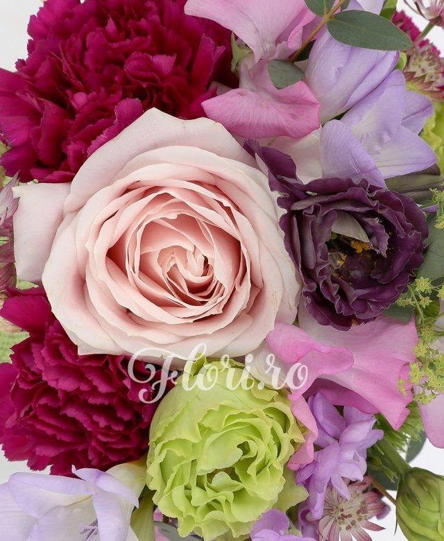 2 matthiola mov, 3 frezii mov,  trandafir roz, 3 garoafe cyclam, 2 lathyrus, 1 lisianthus verde, 1 lisianthus mov, 1 garoafa verde, astrantia, bupleurum, eucalypt, saculet
