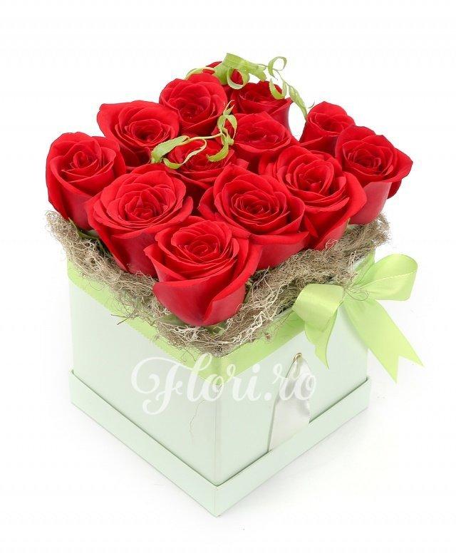 13 trandafiri roșii, verdeață, cutie
