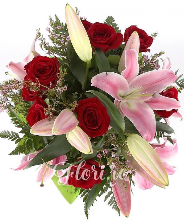 3 crini roz, 7 trandafiri rosii, waxflower, feriga