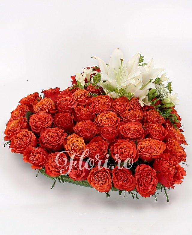 60 trandafiri roșii, 2 crini imperiali albi, 5 frezii