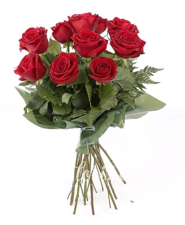 11 trandafiri roșii, ferigă