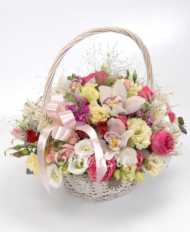 3 matthiolla roz, 5 trandafiri piano, 4 alstroemeria albă, 3 miniroze roz, 2 miniroze crem, 2 miniroze roșii, 3 astilbe, 3 astrantia, 7 lalele roz, 2 lisianthus crem, 2 lisianthus alb, cymbidium alb, verdeață