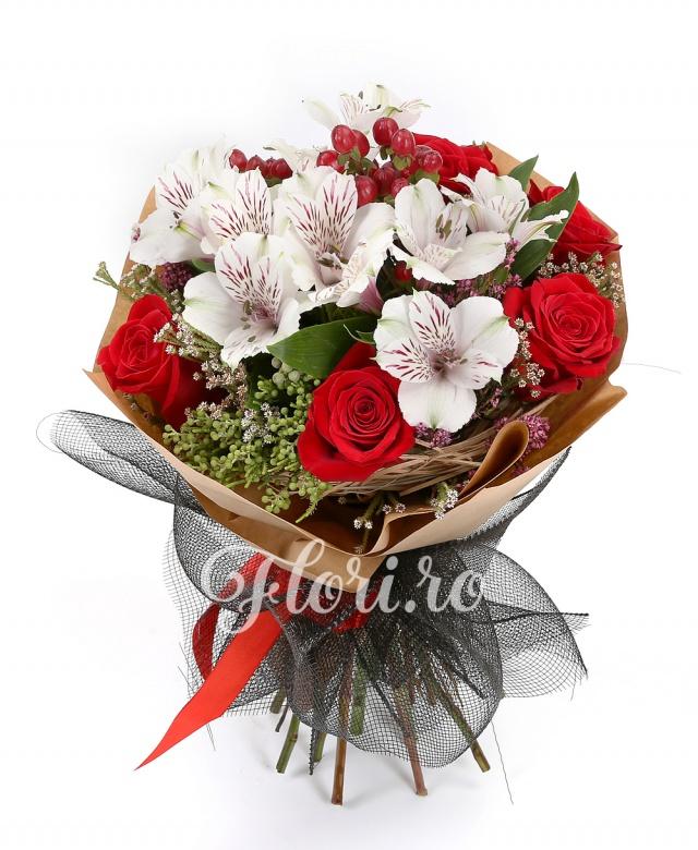 7 trandafiri roșii, 3 hypericum, 3 alstroemeria albă, brunia, verdeața