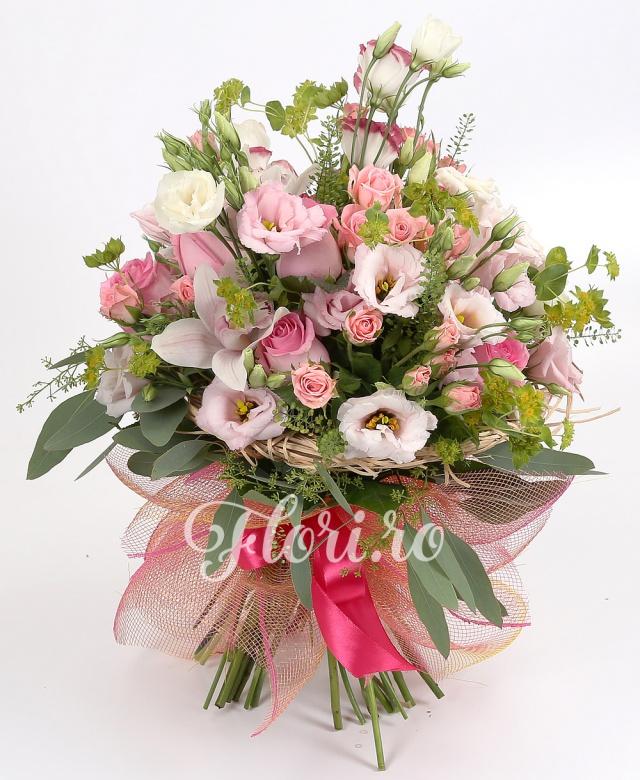 7 trandafiri roz, 5 miniroze roz, 5 lisianthus roz, 5 bupleurum, cymbidium roz, verdeață