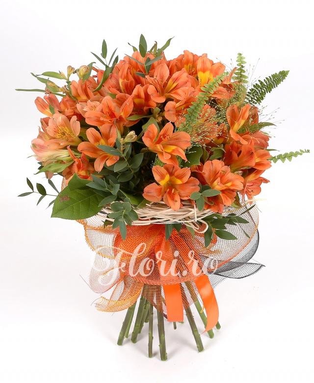 19 alstroemeria portocalie, verdeață