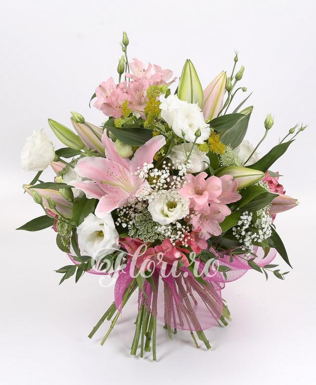 3 crini roz, 7 alstroemeria roz, 5 lisianthus alb, 1 gypsophila, 5 ami, 3 bupleurum, verdeață