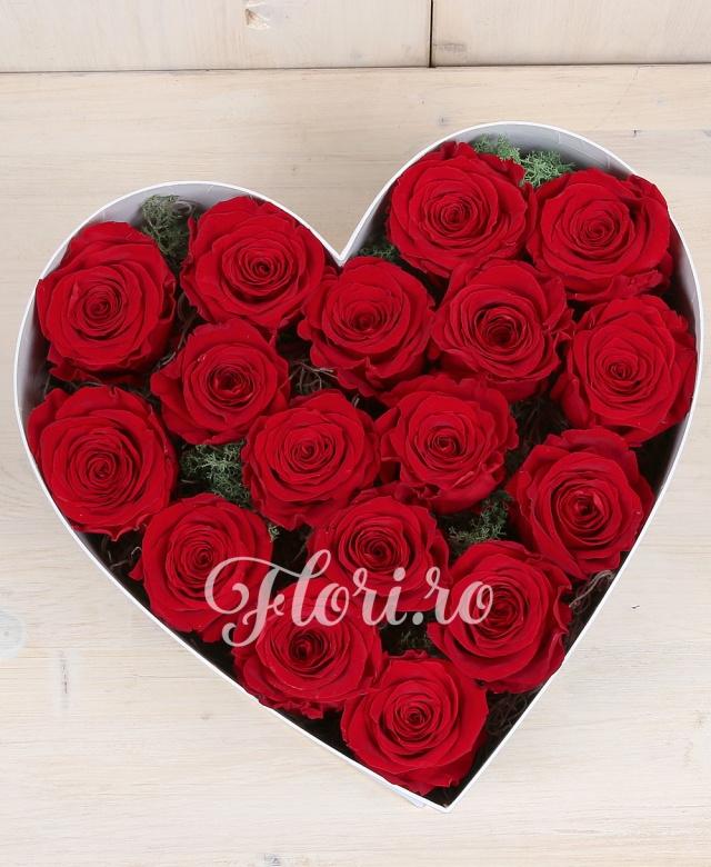 17 trandafiri criogenați dispusi în cutie în formă de inimă